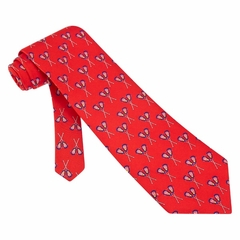 Lacrosse Tie Red Silk Necktie - Mens Sports Neck Tie