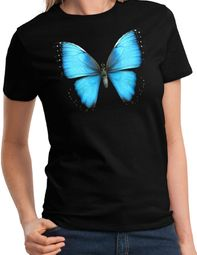 Ladies 3D Butterfly Shirt - Black