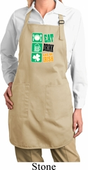 Ladies Apron Eat Drink Be Irish Full Length Apron with Pockets