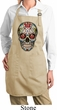 Ladies Apron Sugar Skull with Roses Full Length Apron with Pockets