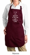Ladies Apron White Keep Calm Grill On Full Length Apron with Pockets