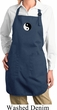 Ladies Apron Yin Yang Patch Small Print Full Length Apron with Pockets