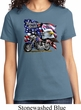 Ladies Biker Shirt American Pride Motorcycle Tee T-Shirt