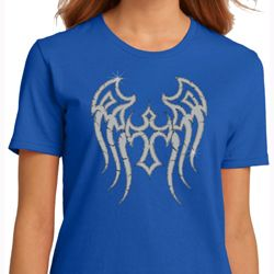 Ladies Biker Shirt Cross Wings Organic Tee T-Shirt