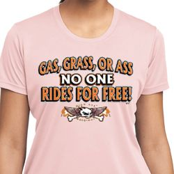 Ladies Biker Shirt Gas Grass Or Ass Moisture Wicking Tee T-Shirt