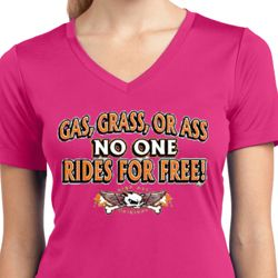 Ladies Biker Shirt Gas Grass Or Ass Moisture Wicking V-neck Tee