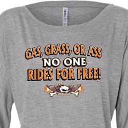 Ladies Biker Shirt Gas Grass Or Ass Off Shoulder Tee T-Shirt