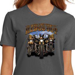 Ladies Biker Shirt Who Let The Hawgs Out Organic Tee T-Shirt