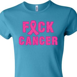 Ladies Breast Cancer Awareness Shirt F*CK Cancer Crewneck Tee T-Shirt