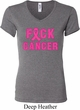 Ladies Breast Cancer Awareness Shirt F*CK Cancer V-neck Tee T-Shirt