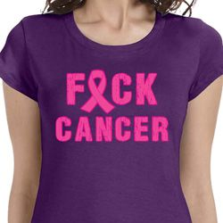 Ladies Breast Cancer Shirt F*CK Cancer Longer Length Tee T-Shirt