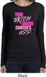 Ladies Breast Cancer Shirt Kicked Cancers Ass Long Sleeve Tee T-Shirt