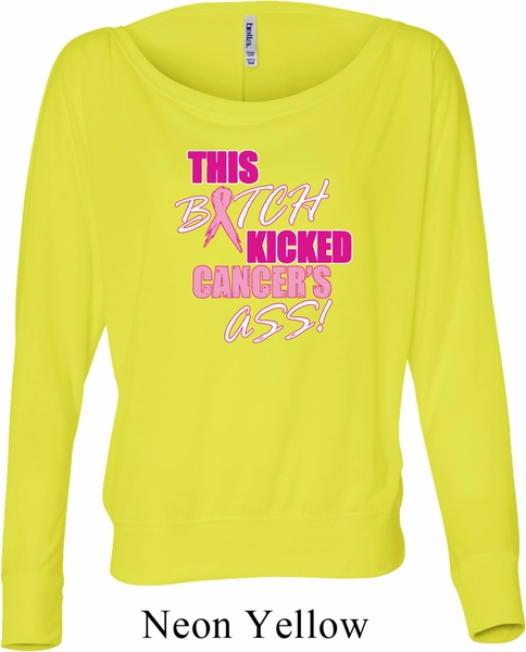 7977c1edce Ladies Breast Cancer Shirt Kicked Cancers Ass Off Shoulder Tee T-Shirt