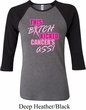 Ladies Breast Cancer Shirt Kicked Cancers Ass Raglan Tee T-Shirt