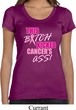 Ladies Breast Cancer Shirt Kicked Cancers Ass Scoop Neck Tee T-Shirt