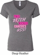 Ladies Breast Cancer Shirt Kicked Cancers Ass V-neck Tee T-Shirt