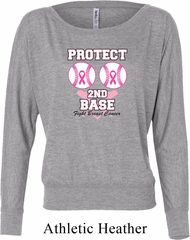 Ladies Breast Cancer Shirt Protect 2nd Base Off Shoulder Tee T-Shirt