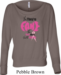 Ladies Breast Cancer Shirt Yes, They're Fake Off Shoulder Tee T-Shirt