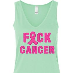 Ladies Breast Cancer Tanktop F*CK Cancer Flowy V-neck Tank Top
