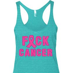 Ladies Breast Cancer Tanktop F*CK Cancer Tri Blend Racerback Tank Top