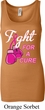 Ladies Breast Cancer Tanktop Fight For a Cure Longer Length Tank Top