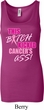 Ladies Breast Cancer Tanktop Kicked Cancers Ass Longer Length Tank Top