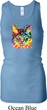 Ladies Cat Tanktop Blue Eyes Cat Longer Length Racerback Tank Top