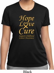 Ladies Childhood Cancer Awareness Hope Love Cure Dry Wicking T-shirt