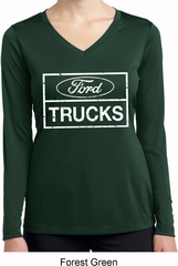 Ladies Distressed Ford Trucks Dry Wicking Long Sleeve Shirt