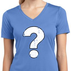 Ladies Distressed Question Moisture Wicking V-neck Shirt