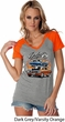 Ladies Dodge Blue and Orange Super Bee Contrast V-neck