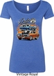 Ladies Dodge Blue and Orange Super Bee Scoop Neck