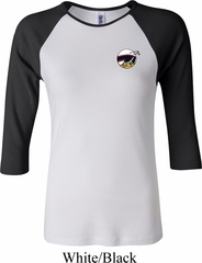 Ladies Dodge Scat Pack Logo Pocket Print Raglan Shirt