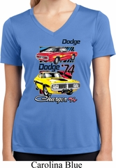 Ladies Dodge Shirt Vintage Chargers Moisture Wicking V-neck Tee