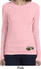 Ladies Dodge Super Bee Logo Bottom Print Long Sleeve Shirt