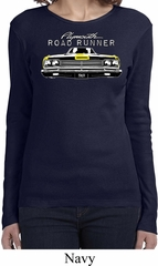 Ladies Dodge Yellow Plymouth Roadrunner Long Sleeve Shirt