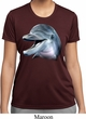 Ladies Dolphin Shirt Big Dolphin Face Moisture Wicking Tee T-Shirt