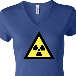 Ladies Fallout Shirt Radioactive Triangle V-neck Tee T-Shirt