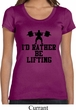 Ladies Fitness Shirt I Rather Be Lifting Scoop Neck Tee T-Shirt