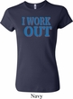 Ladies Fitness Shirt I Work Out Crewneck Tee T-Shirt