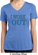 Ladies Fitness Shirt I Work Out Moisture Wicking V-neck Tee T-Shirt