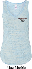 Ladies Ford Mustang Pocket Print Flowy V-neck Tank Top