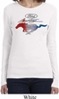 Ladies Ford Mustang Red White and Blue Long Sleeve