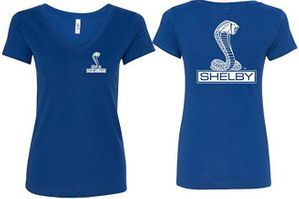 Ladies Ford Mustang Shelby Cobra V-Neck Tee - Front and Back Print
