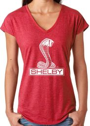 Ladies Ford Mustang Shelby Triblend V-neck - Heather Red
