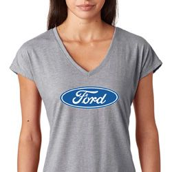 Ladies Ford Oval Tri Blend V-Neck Shirt
