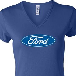 Ladies Ford Shirt Ford Oval V-neck Tee T-Shirt