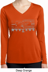 Ladies Ford Shirt Mustang Honeycomb Grille Dry Wicking Long Sleeve