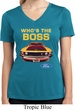 Ladies Ford Shirt Mustang Who's The Boss Moisture Wicking V-neck Shirt
