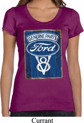 Ladies Ford Shirt V8 Genuine Ford Parts Scoop Neck Tee T-Shirt